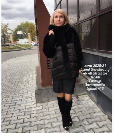 Элегантная зимняя курточка с искусственным мехом
