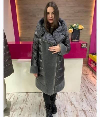 Очень тёплое зимнее пальто со вставкам