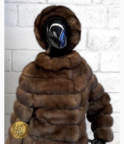 Пальто из меха соболя баргузинского кожа Питона